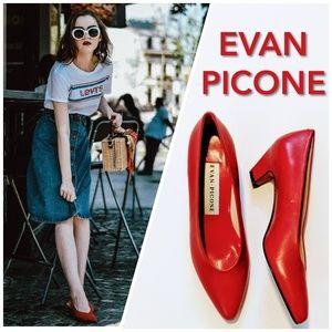 EVAN PICONE Lipstick Red NEW Vintage Pumps